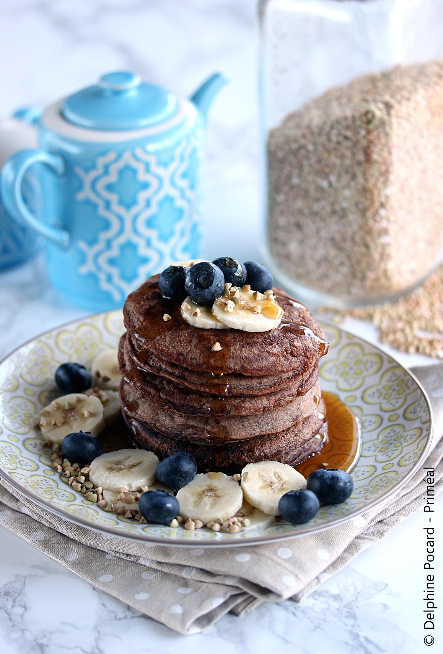 Pancakes cacao et sarrasin Priméal2 blog
