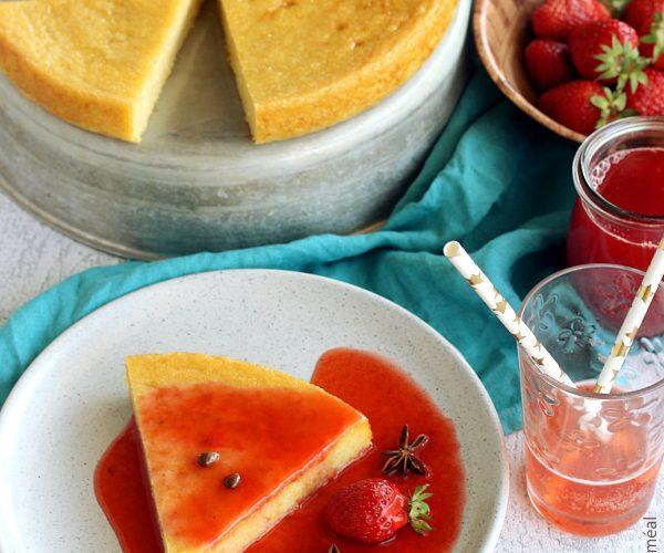Flan de polenta au coulis de fraises et badiane